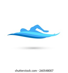 Freestyle Swimmer Silhouette with Water Pool Waves. Stock Vector Illustration