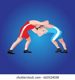freestyle wrestling images stock photos vectors shutterstock https www shutterstock com image vector freestyle wrestling 663524038