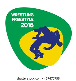 freestyle wrestling icon, vector illustration