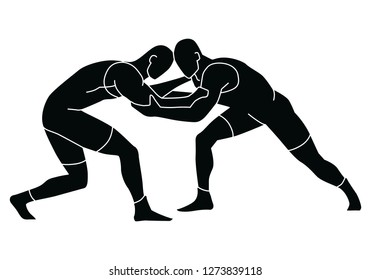 Freestyle wrestling. Wrestlers silhouettes. Vector shape graphics