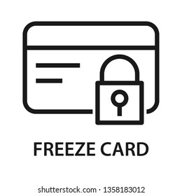 Freeze card icon. Credit card with lock icon. Stroke outline style. Vector. Isolate on white background.