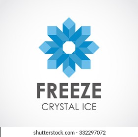 Freeze crystal of star ice abstract vector and logo design or template cold business icon of company identity symbol concept