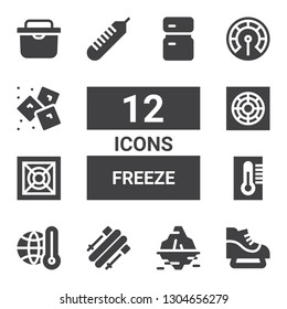 freeze icon set. Collection of 12 filled freeze icons included Ice skate, Iceberg, Skii, Thermometer, Cooler, Ice, Fridge