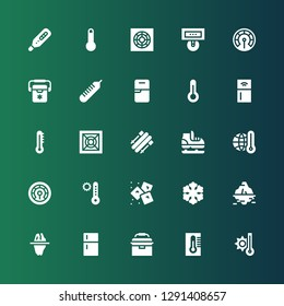 freeze icon set. Collection of 25 filled freeze icons included Temperature, Thermometer, Portable fridge, Fridge, Iceberg, Freezer, Ice, Ice skate, Skii, Cooler, Refrigerator