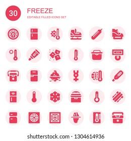 freeze icon set. Collection of 30 filled freeze icons included Thermometer, Fridge, Temperature, Ice skate, Ice, Freezer, Iceberg, Mercury, Refrigerator, Portable fridge, Skii