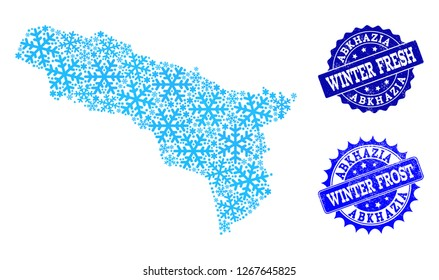 Freeze map of Abkhazia and scratched stamp seals in blue colors with Winter Fresh and Winter Frost titles. Mosaic map of Abkhazia is composed with ice elements.