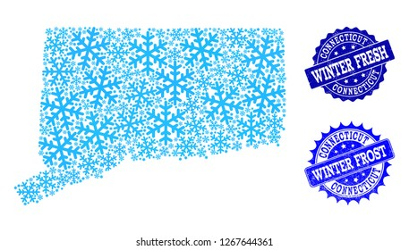 Freeze map of Connecticut State and grunge stamp seals in blue colors with Winter Fresh and Winter Frost texts. Mosaic map of Connecticut State is designed with ice elements.
