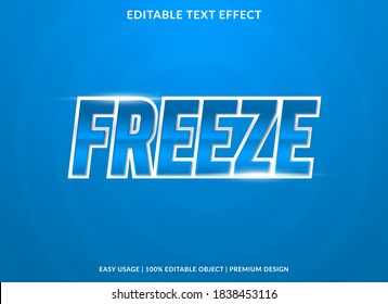 freeze text effect template with 3d bold style use for logo and business brand