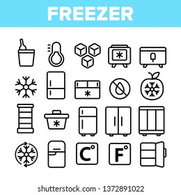 Freezer, Cooling Appliance Linear Vector Icons Set. Frosting and Icing Thin Line Contour Symbols. Cold Storage Pictograms. Refrigerator, Fridge, Ice Chest. Deep Freeze Outline Illustrations Pack