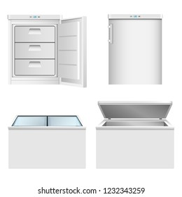 Freezer icon set. Realistic set of freezer vector icons for web design isolated on white background