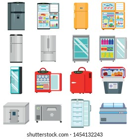 Freezer icons set. Flat set of freezer vector icons for web design