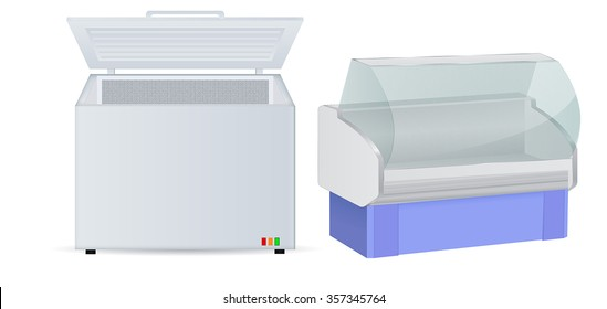 Freezer and refrigerator. Vector isolated on white background.