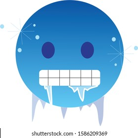 Freezing cold emoji. Icy-blue face with gritted teeth with icicles clinging to its jaw and lips - frozen from extreme cold. Ice glittering on its face skin.