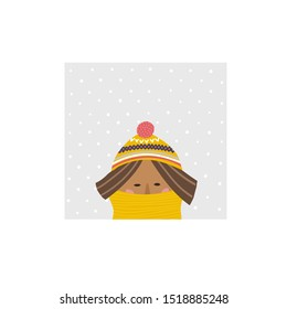 Freezing girl hat scarf season winter snowfall illustration Cold striped bobble knitting head yellow cap. Cute, simple vector postcard graphic design paper cutout letters geometric style print