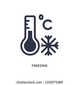 freezing isolated icon. Simple element illustration from weather concept. freezing editable logo symbol design on white background. Can be use for web and mobile.