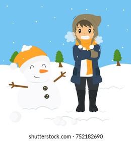 freezing and shivering young boy on winter cold, standing beside a snowman. cartoon vector illustration