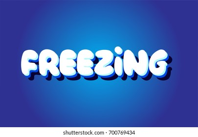 freezing text 3d blue letters logo postcard banner concept vector creative company icon design template modern white