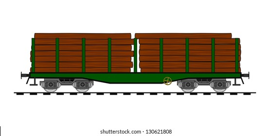 Freight flat car loaded with wood trunks