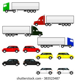 Freight and passenger cars. Set of vector illustrations