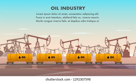 Freight Railcar for Oil Industry Transportation. Flat Banner Illustration Set of Tank for Transporting Crude Oil Product. Plant for Extraction and Production Combustible Substances. Oil Drilling Rig