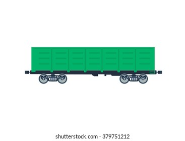 Freight railroad car  boxcar. vector illustration isolated on a white background