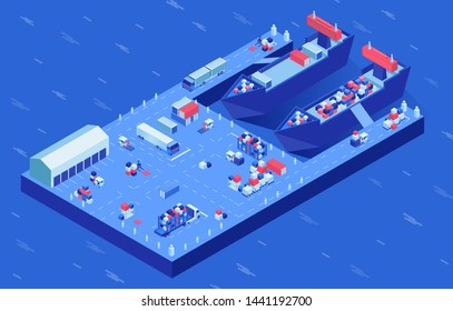 Freight ships in harbor isometric vector illustration. Industrial vessel loading process, marine and ground transport at docks. Container shipping, import and export business, shipment storage service
