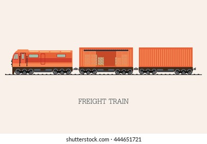 Freight train cargo cars isolated on background with Container and box freight train cars. Logistics heavy railway transport design elements . Flat style vector illustration.