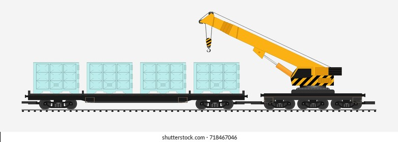freight train with crane train
