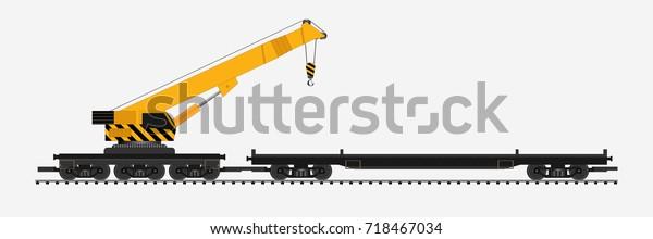 Freight Train Crane Train Draw Cartoon Stock Vector (Royalty