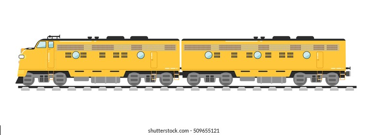 Freight train isolated on white background vector illustration. Side view of powerful diesel locomotive freight train. Cargo train on railroad in flat design. Freight train or locomotive icon.