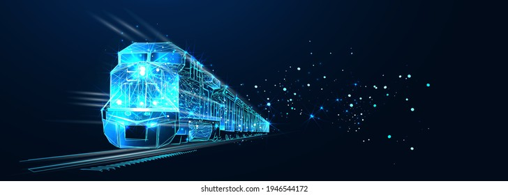 Freight train locomotive with freight, Abstract vector 3d. Isolated on  dark blue background. Transportation, logistics or international shipping concept. Digital polygonal low poly mesh illustration