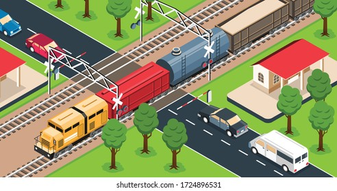 Freight train on railway crossing 3d isometric vector illustration
