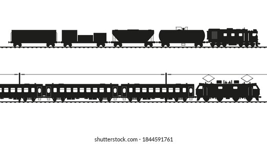 Freight train and passenger train black vector silhouette. Diesel locomotive and electric locomotive, various types of wagons.