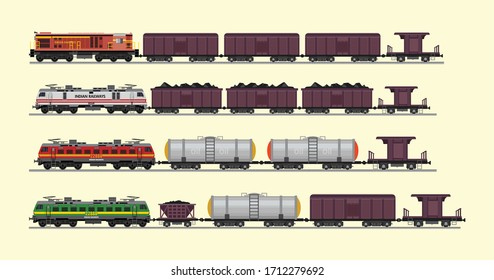 Freight train with wagons, tanks, freight, cisterns. Railway locomotive train with oil wagon, transportation cargo. Transportation of oil Modern freight vector flat illustration