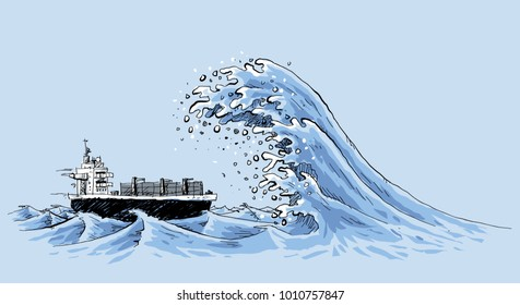 A freighter ship in the ocean is about to be hit by a gigantic, fast rogue wave of churning water.