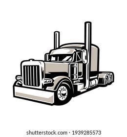 Freightliner Semi Truck 18 Wheeler Silhouette Vector