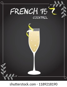French 75 Cocktail Illustration in vector with lemon twist.