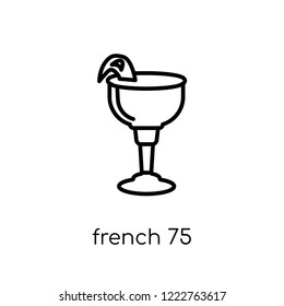 french 75 icon. Trendy modern flat linear vector french 75 icon on white background from thin line Drinks collection, outline vector illustration