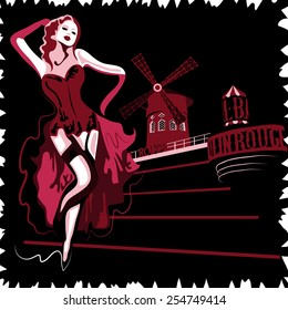 French abstract woman in cabaret Moulin Rouge in Paris (poster or card)
