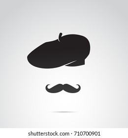 French artist, mustache man icon isolated on white background. Vector art.