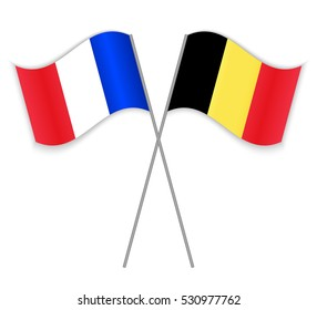 French and Belgian crossed flags. France combined with Belgium isolated on white. Language learning, international business or travel concept.