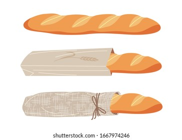French bread set. Simple baguette unpacked, in paper bag and in fabric packaging isolated on white. Organic products, eco friendly packing, healthy eating vector flat illustration.