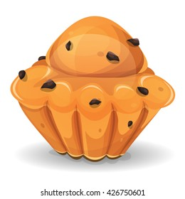French Brioche With Chocolate Nuggets/ Illustration of an appetizing french brioche, with chocolate nuggets, for breakfast