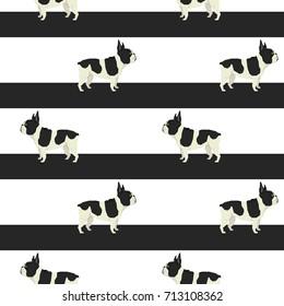 French bulldog and big stripes Seamless pattern