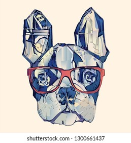 French bulldog in blue - vector illustration
