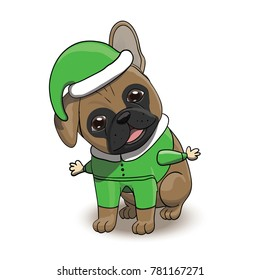 French Bulldog Cartoon Puppy Character Dressed in Santa's Elf Costume. Dog Portrait Vector Illustration