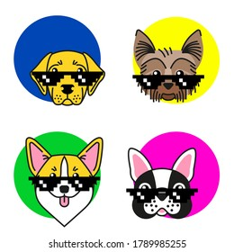 French bulldog, corgi, labrador and Yorkshire terrier  in meme sunglasses. Seamless Pattern. Design for sticker, wrapping paper and t shirts.