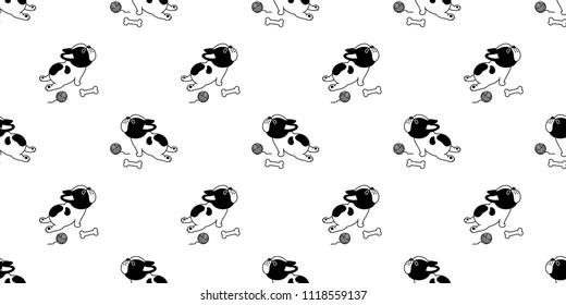 french bulldog dog seamless pattern vector bone yarn ball repeat background tile cartoon wallpaper isolated illustation