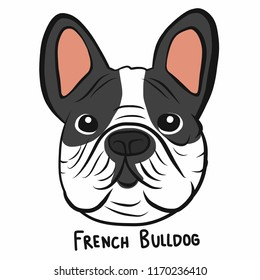 French bulldog face cartoon doodle vector illustration