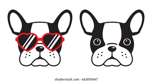 french bulldog face dog heart Glasses illustration vector cartoon